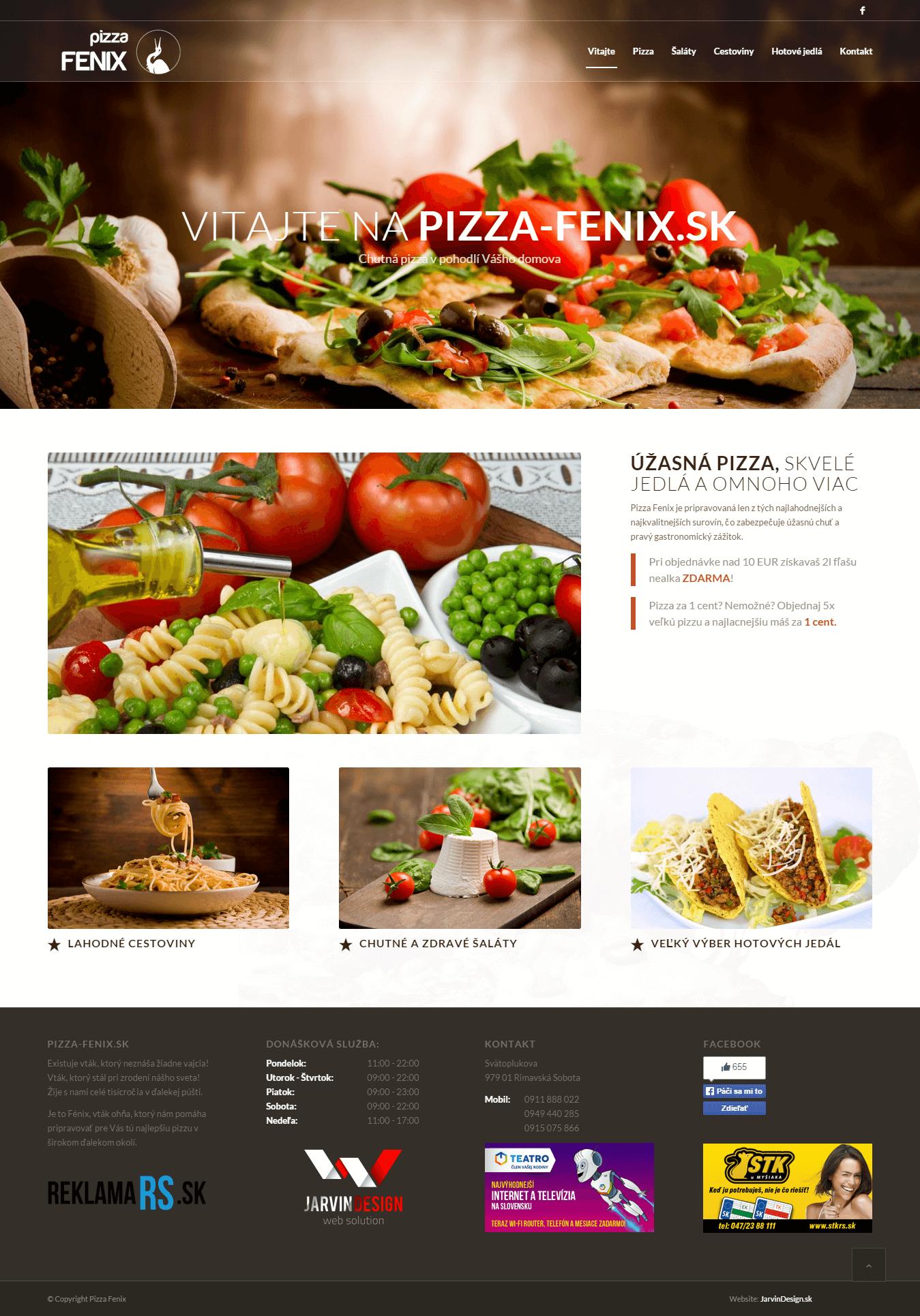 Pizza-Fenix - titulná stránka