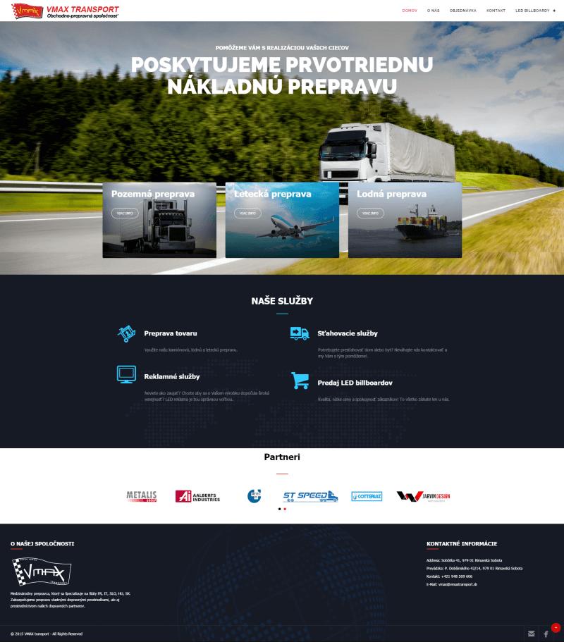 Vmax Transport - titulná stránka