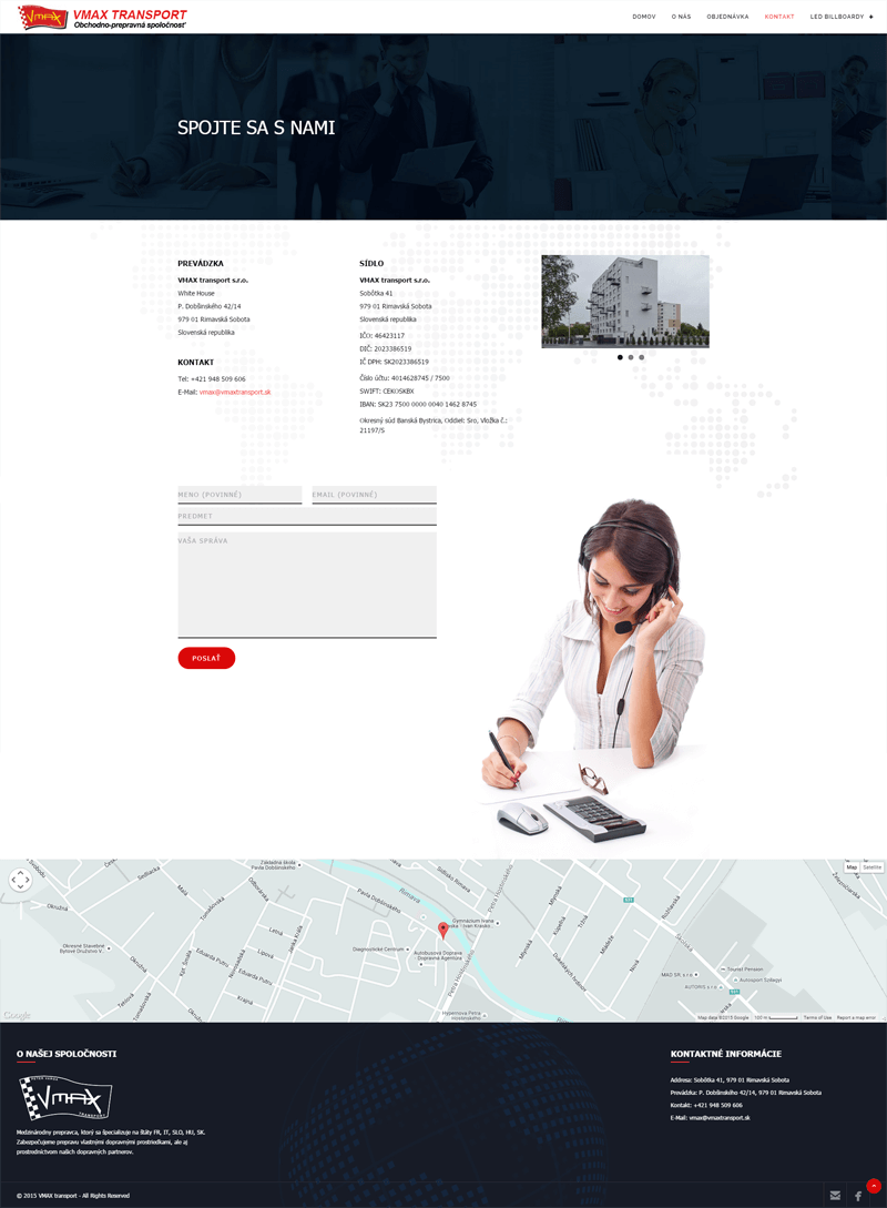 Vmax Transport - kontaktná stránka