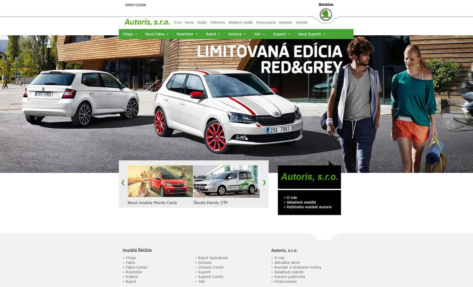 Náhľad web stránky Škoda po redizajne