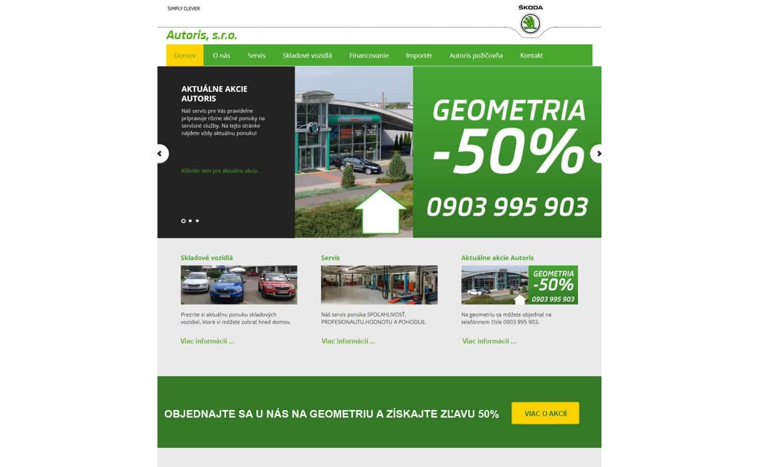 Starý dizajn web stránky Škoda