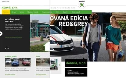 Autoris - Škoda dealer - porovnanie stranky pred a po