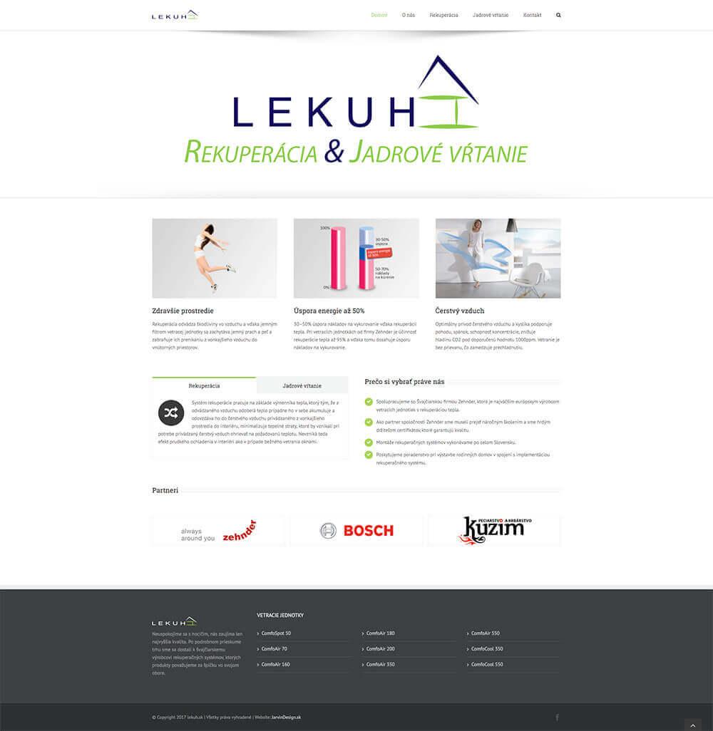 Náhľad úvodnej web stránky Lekuh.sk