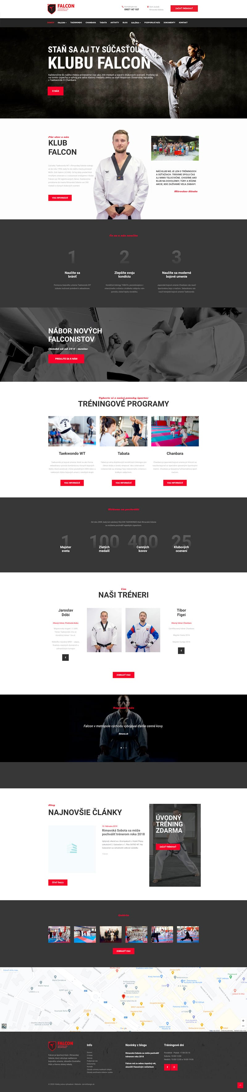 Náhľad úvodnej webstránky FalconRS.sk