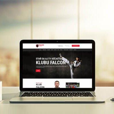 Náhľad stránky klubu Falcon na notebooku