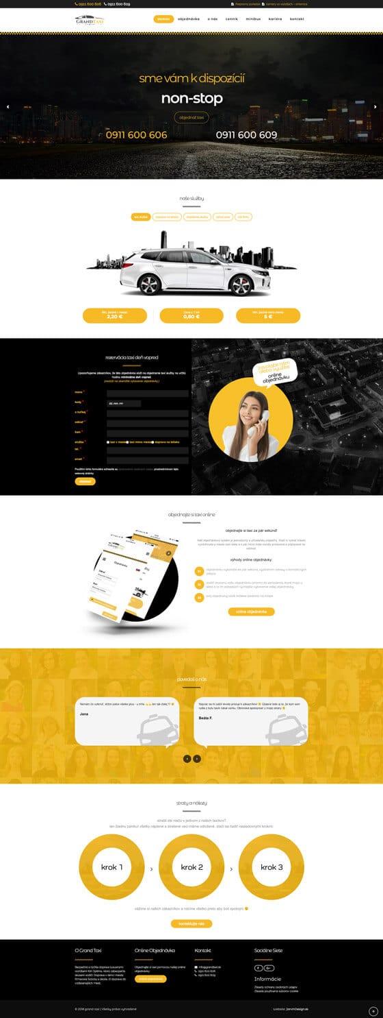 Náhľad web stránky GrandTaxi.sk