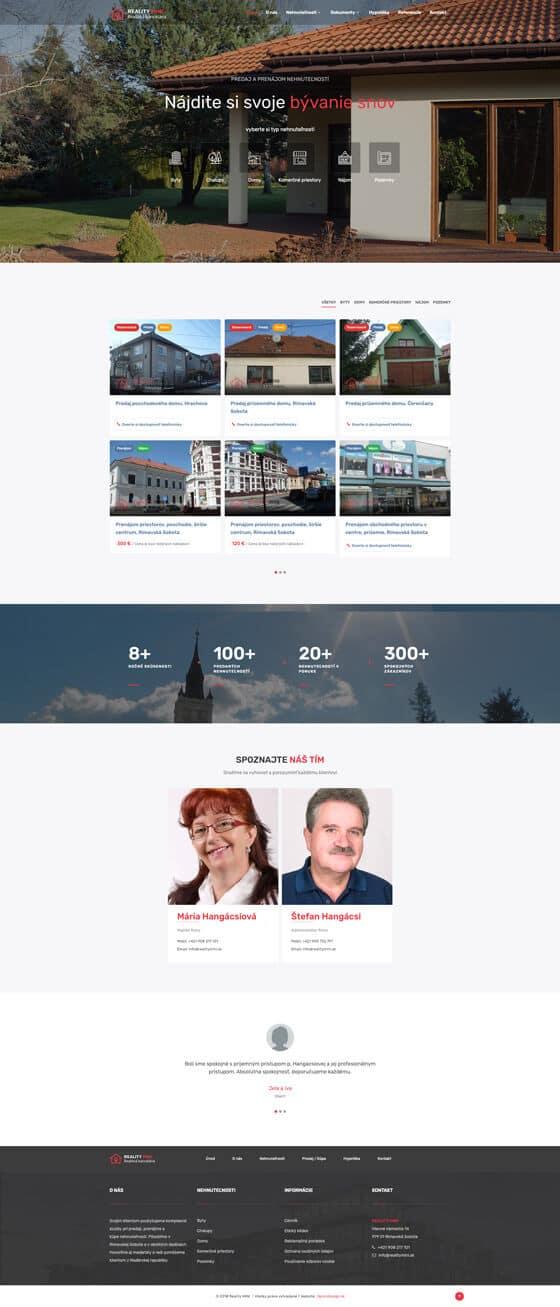 web pre realitnú kanceláriu RealityMINI
