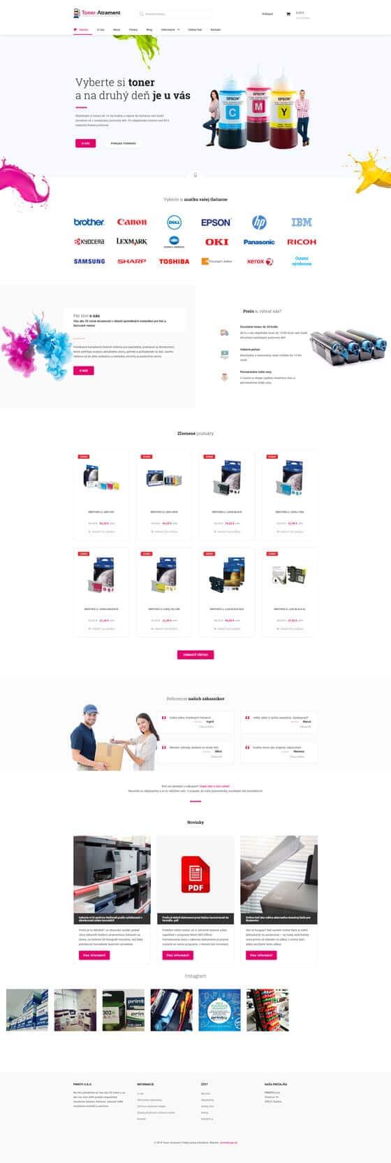Náhľad úvodnej web stránky toner-atrament.sk