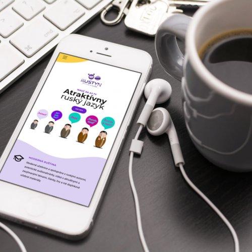 Náhľad web stránky Rustyn na iPhone - JarvinDesign.sk - tvorba web stránok