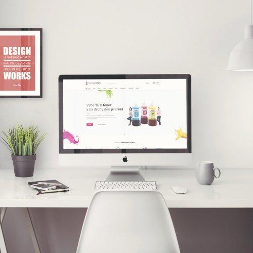 Náhľad web stránky toner-atrament.sk na iMacu - JarvinDesign.sk - tvorba eshopov