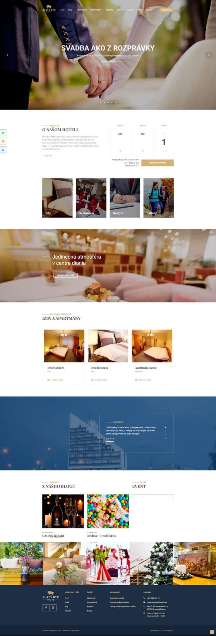 Náhľad celej úvodnej stránky hotela Zlatý býk - JarvinDesign.sk - tvorba web stránok