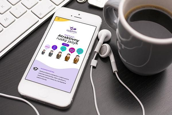 Náhľad web stránky Rustyn na mobile