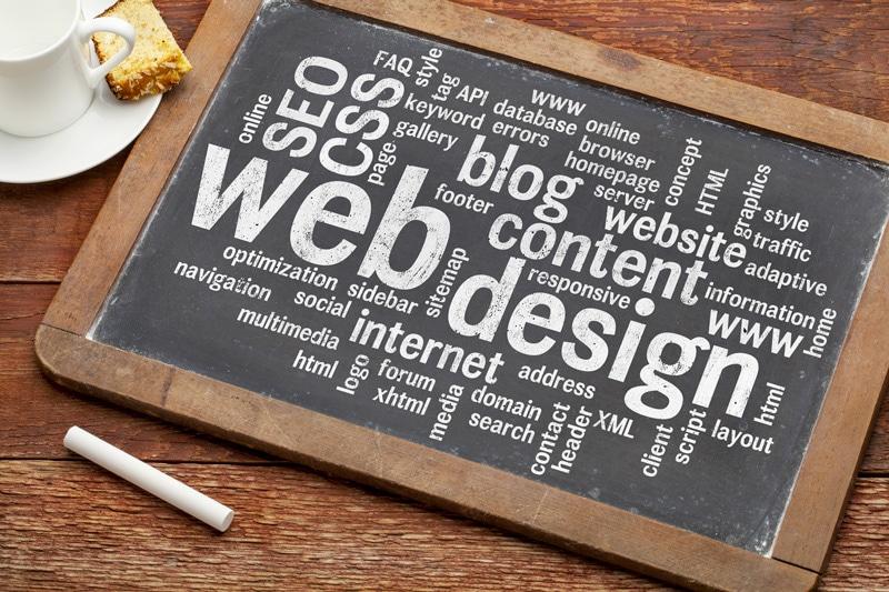 Tabuľa s nápismi web design, blog, conteng atď.