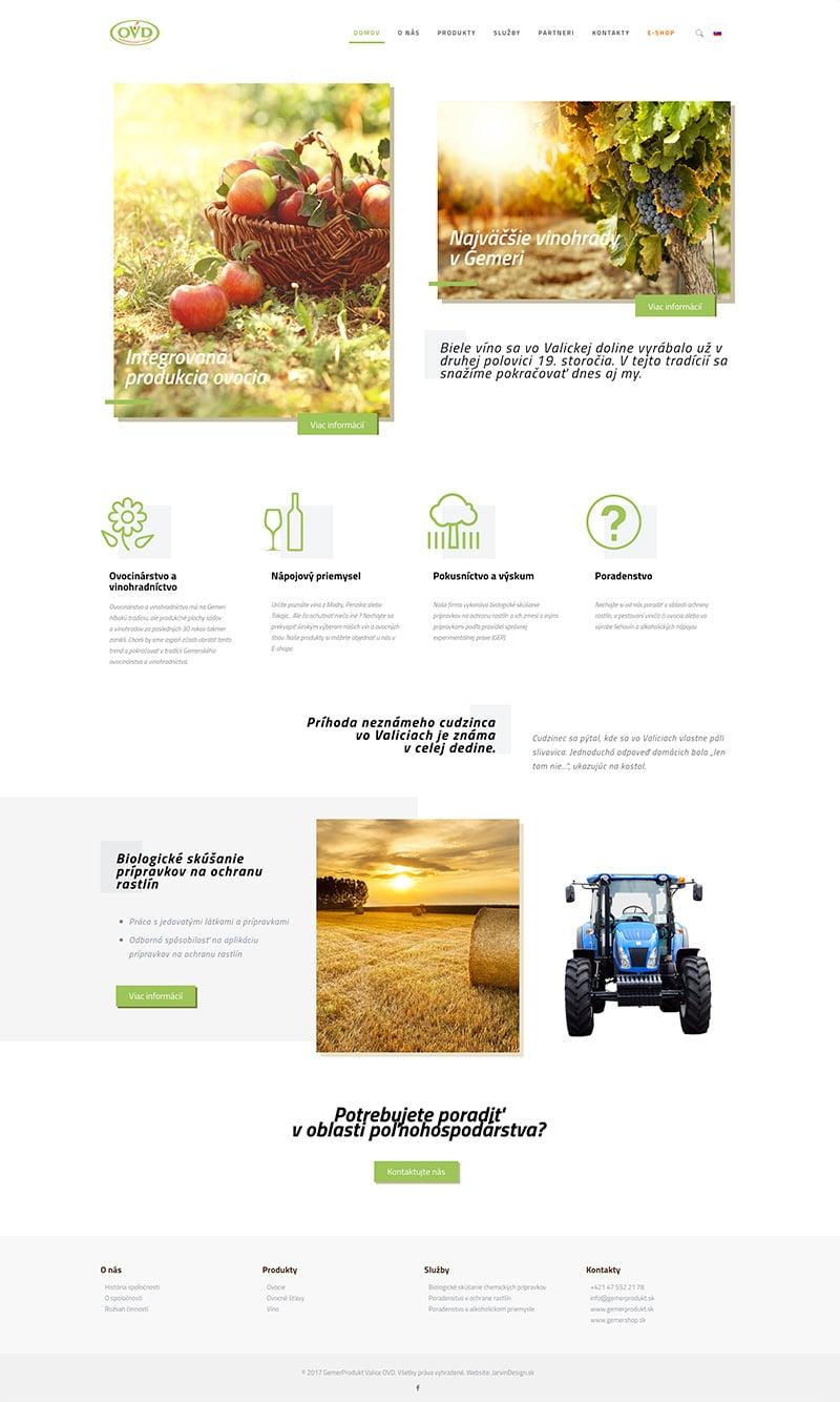 Náhľad celej úvodnej stránky GemerProdukt.sk - JarvinDesign.sk - tvorba web stránok