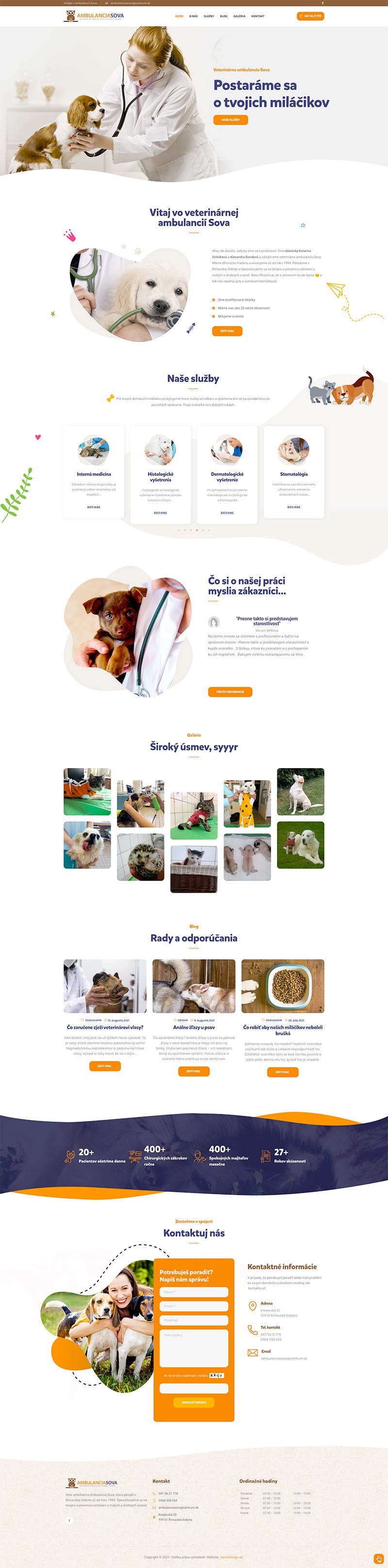 Náhľad úvodnej web stránky AmbulanciaSova.sk - JarvinDesign.sk - Tvorba web stránok
